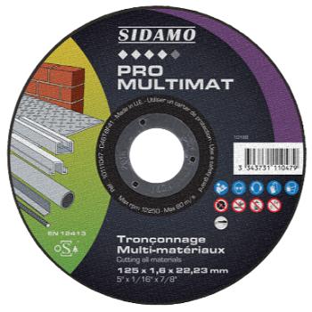 10111047 DISQUE Ø125 PRO MULTIMAT Tronçonnage multi-matériaux - Pour machine électro-portative